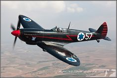 """""""Black Spitfire"""", the sole example of this classic fighter to be airworthy in the Middle East region, everyone in Israel with an interest in classic airplanes or aviation history refers to it also as """"Ezer's Spitfire""""."""