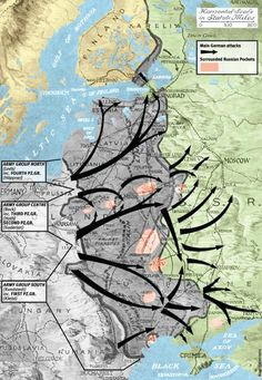 Map of Operation Barbarossa, showing the direction of German attacks and the major pockets of Russian troops surrounded by blitzkrieg breakthroughs between June and December 1941. Military History Monthly Battle Maps.