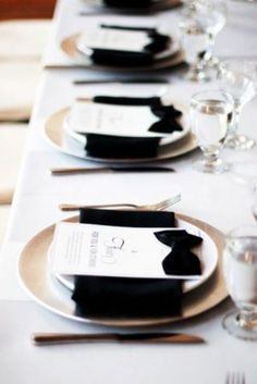 Black and White Table Setting to look like Tuxes for a Black and White Affair!