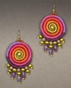 coiled and beaded earrings (crochet or macrame?) by sophia