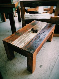 Rustic reclaimed wood coffee table, made from old floor and barn boards! Made by Forever Interiors