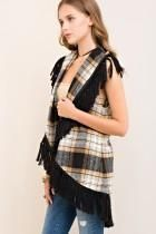 Plaid Vest With Fringe Detail