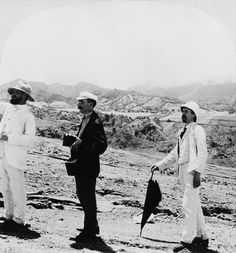 1903 - Southeast from the barren slopes of Pelée above St. Professor Heilprin in foreground French West Indies, Professor, Couple Photos, Couples, Vintage, Teacher, Couple Shots, Couple Photography, Couple