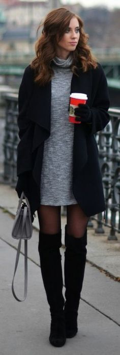 Turtle neck sweater dresses are always a winner. Barbora Ondrackova wears a pale grey number with black over the knee boots and a matching black coat. Via Just The Design.    Dress/Coat/Boots: Zara. Sweater Dresses, dress, clothe, women's fashion, outfit inspiration, pretty clothes, shoes, bags and accessories