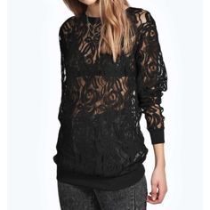 Lace sheer sweater sweatshirt NWT S See through sheer lacy top - size small - need to wear your own bralette underneath Tops Sweatshirts & Hoodies