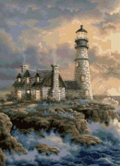 Lighthouse Landscape Cross stitch pattern PDF - EASY chart with one color per sheet AND traditional chart! Two charts in one! by HeritageChart on Etsy