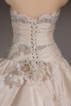 Close up of Annabel's wedding dress miniature.