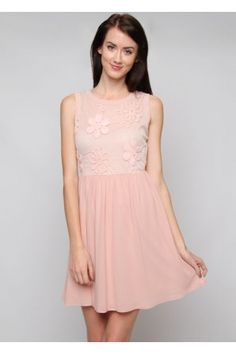 salediem.com boutique styles for less. Shipping is FREE SLEEVELESS DRESS WITH TEXTURED MESH TOP