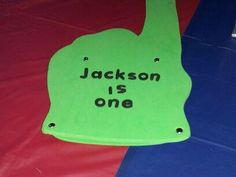 From the $1 store!  Used sticky letters!  For the older brother to use!