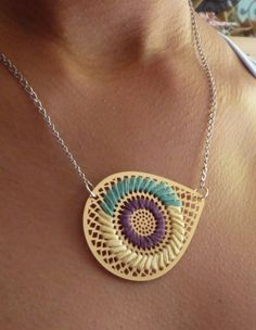 AI EMBROIDERED NECKLACE  PLUM by ChocolateSushiHM on Etsy, $30.00