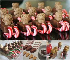 Quick, cute and easy - my kind of party food. Mini Milky Ways, mini Candy Canes, Tiny Teddies and a little bit of melted chocolate. Christmas Party Food, Christmas Cooking, Noel Christmas, Christmas Goodies, Christmas Candy, Christmas Treats, Holiday Treats, Christmas Sleighs, Christmas Recipes