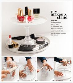 A two teir makeup holder made with a glass candlestick and plates – DIY with P. I Made This and Nordstrom Beauty Spot A two teir makeup holder made with a glass candlestick and plates – DIY with P. I Made This and Nordstrom Beauty Spot Diy Makeup Organizer, Makeup Holder, Makeup Storage, Makeup Organization, Makeup Tray, Makeup Display, Makeup Brush, Diy Storage, Storage Ideas