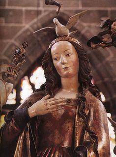 Veit Stoss c. 1517-1518 Annunciation (detail)