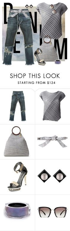 """""""Distressed Denim"""" by ysmn-pan ❤ liked on Polyvore featuring Dolce&Gabbana, Pleats Please by Issey Miyake, Michael Kors, HADES, Alexis Bittar, Miu Miu, contest and distresseddenim"""