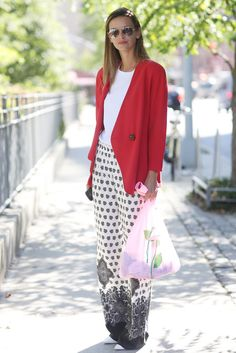 "Give ""pajama pants"" an office-worthy makeover with a sleek blazer up top.  Image Source: Tim Regas / Instag..."