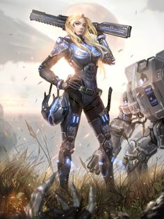 fantasy and science fiction Cyberpunk Kunst, Cyberpunk Girl, Female Armor, Female Soldier, Fantasy Warrior, Fantasy Girl, Female Character Design, Character Art, Character Concept