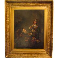 Hebbert Continental Oil on Canvas 1841 Assayer and Cavalier from revival-house-antiques on Ruby Lane Canvas Signs, Ruby Lane, Cavalier, Oil Painting On Canvas, Paintings, Antiques, House, Art, Antiquities