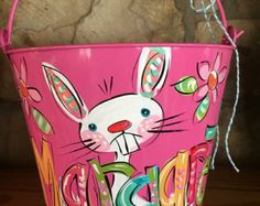 Its always BUCKET SEASON in my world....  Stuff with any of your favorites...Makes for a perfect gift for Easter, Valentines day, birthday, shower, sprinkle, art supplies (my personal favorite use), or JUNK!  • Decorative storage for supplies, small toys, etc. Unique gift packaging, party favors, & more. Custom designs available....convo me with questions.  THIS LISTING IS FOR A SINGLE ITEM  ORDERING INFO: Be sure to include: NAME or word Any changes youd like form whats shown (if any)  *...