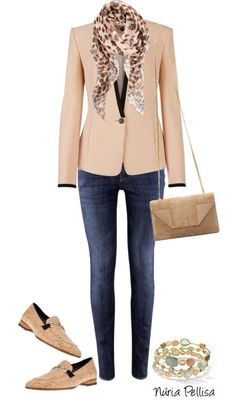 """Blazer and Jeans"" by nuria-pellisa-salvado ❤️ liked on Polyvore"