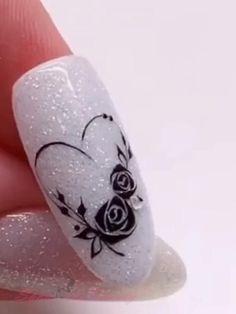 Rose Nail Design, Manicure Nail Designs, Rose Nail Art, Rose Nails, Flower Nail Art, Flower Design Nails, New Nail Art, Nail Art Designs Videos, Nail Art Videos