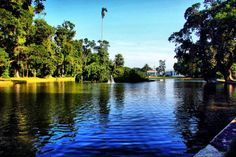 A lake with Presidential Palace at the background, Bogor, West Java
