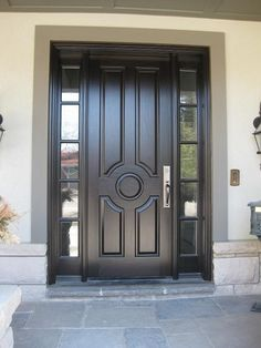 Very handsome Amberwood custom 5 panel design mahogany door with 2 sidelights!