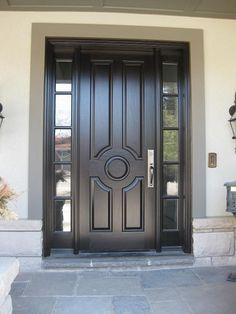Very handsome Amberwood custom 5 panel design mahogany door with 2 sidelights!