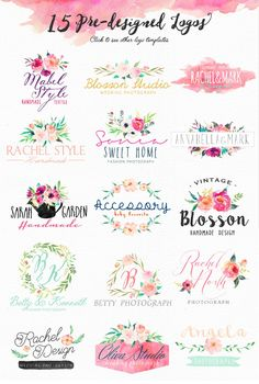 Fond Design, Web Design, Floral Design, Watercolor Logo, Watercolor Flowers, Watercolor Paintings, Clipart, Wedding Clip, Handmade Design