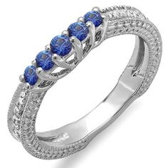 Share and get $20 off your order of $100 or more. 0.45 Carat (ctw) 18k White Gold Round Blue Sapphire And White Diamond Ladies Anniversary Wedding Band Guard Enhancer Ring - Dazzling Rock #https://www.pinterest.com/dazzlingrock/