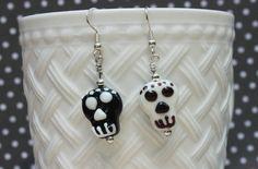 Skull Lampwork Glass Bead Earrings