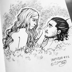 'Jon and Dany' by Stephanie Kock (simsamy) Daenerys Targaryen Art, Jon Snow And Daenerys, Game Of Thrones 5, I Love Games, Violet Eyes, Winter Is Coming, Silver Hair, I Fall In Love, Fan Art