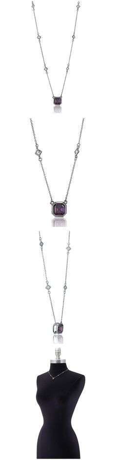 Sterling Silver Asscher CZ Solitaire Fashion Necklace