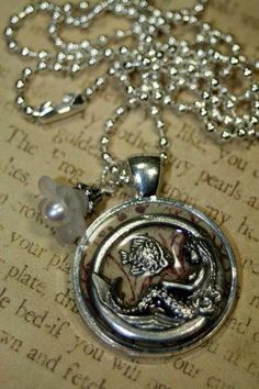 Under the Sea Inch N Pearl Charm Necklace Layering Altered Art   shadesongs - Jewelry on ArtFire