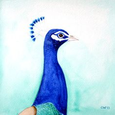 Watercolor Art Painting  Peacock  Original by paintedbliss on Etsy, $55.00