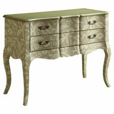 """Weathered wood console table with a floral motif and metallic top. Product: Console table Construction Material: Wood Color: Weathered green and metallic  Features:   Two drawers  Floral motif  Dimensions: 34.25"""" H x 42.5"""" W x 18"""" D"""