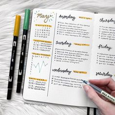 Neat and clean Bullet Journal office work weekly layout - Bullet journal layout - Bullet Journal Weekly Layout, Bullet Journal Notebook, Bullet Journal Aesthetic, Bullet Journal School, Bullet Journal Ideas Pages, Bullet Journal Daily Spread, Dotted Bullet Journal, Planner Journal, Bullet Journal Yearly Overview
