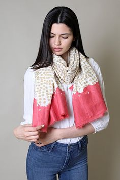 Anika Dali Women's Exotic Tanzania Dots Scarf in Cotton Silk Blend at Amazon Women's Clothing store: