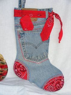 Red Bandana Denim Christmas Stocking by tuck a surprise in the pocket ❤️ Christmas Stocking Pattern, Christmas Sewing, Christmas Items, Felt Christmas, Homemade Christmas, Christmas Projects, Christmas Ornaments, Christmas Christmas, Jean Crafts