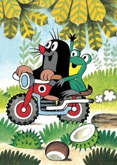 Krtek on his motorcycle Children's Book Illustration, Illustrations, Nina Klein, Quirky Art, Cartoon Toys, Comic Pictures, Pin Logo, Coloring Book Pages, Mole