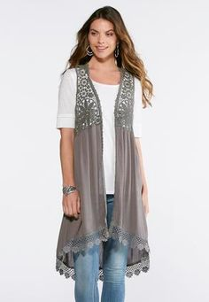 Cato Fashions Crochet Trim Duster Vest #CatoFashions