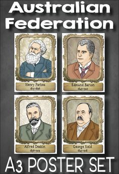 These beautiful posters feature four key figures of Australian Federation - Henry Parkes, Edmund Barton, Alfred Deakin and George Reid. They are the perfect complement to your Grade 6 HASS Australian History unit on Australian Federation (Australian Cu Teaching Geography, Primary Teaching, Primary Classroom, Teaching History, Teaching Resources, Primary School, Teaching Ideas, Federation Of Australia, Australian Politics