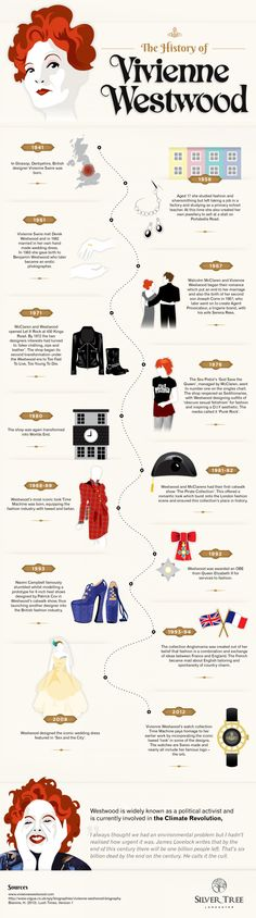 Fashion infographic & data visualisation An Infographic detailing the history of Vivienne Westwood, the iconic fashion de. Infographic Description An Fashion 101, Punk Fashion, Fashion History, Fashion Beauty, Fashion Trends, Fashion Styles, Fashion Rocks, Street Fashion, Vivienne Westwood