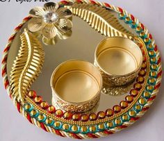 A traditional indian gift plate with decorated pots indian weds very easy plate to make diwali decorationsindian wedding junglespirit Choice Image
