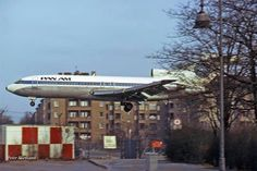 Pan Am 727 landing at Berlin Templehoff airport. Pan Am operated its IGS (Inter-German Service) there from 1950-1975. The airport ceased operations in 2008 in the process of establishing 'Schonfeld Airport' as the sole commercial airport in Berlin.