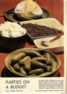 For brides who enjoy entertaining family and friends but are on a budget. Gross Food, Weird Food, Scary Food, Bad Food, Retro Recipes, Vintage Recipes, Vintage Cooking, Vintage Food, Food Porn