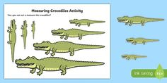 Measuring Crocodiles Activity to Support Teaching on The Enormous Crocodile Primary Resources, Teaching Resources, Teaching Ideas, Crocodile Pictures, The Enormous Crocodile, Somali, Teaching Kindergarten, Eyfs, The Unit