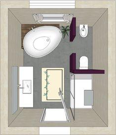 Bath planning with free-standing bathtub, which goes to a pedestal .- Badplanung mit freistehender Badewanne,die an ein Podest grenzt Bathroom design with a free-standing bathtub adjacent to a pedestal -