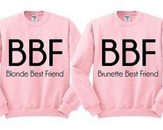 Pink Crewneck BBF BOWS Blonde Best Friend by TeesAndTankYouShop