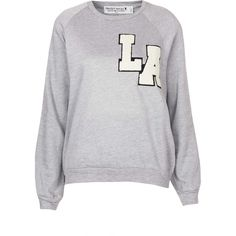 TOPSHOP Tall LA Patch Sweat ($31) ❤ liked on Polyvore featuring tops, hoodies, sweatshirts, jumpers, sweaters, topshop, grey, cotton sweatshirt, grey top and tall tops