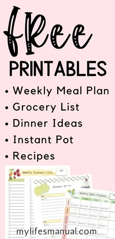 Free Weekly Meal Planner with a Grocery List, Instant Pot Recipes and a Simple Meal Planning PDF Guide Weekly Meal Plan Template, Menu Planning Printable, Weekly Menu, Printables, Printable Templates, Family Meal Planning, Budget Meal Planning, Food Budget, Budget Recipes